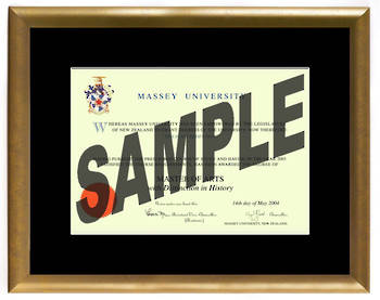 Massey University Degree Gold Frame 210